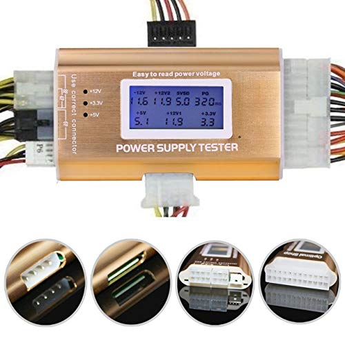 Optimal Shop 20+4 Pin LCD Computer Power Supply Tester for SATA IDE HDD ATX ITX BYI Connectors-Golden