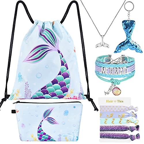 WERNNSAI Mochila Con Cordón de Sirena - regalos de Sirena Para Niñas Cumpleaños Navidad 9 Piezas Bolsas Con Cordón Incluye Bolsa de Maquillaje Llavero Collar Pulsera Cintas Para El Cabello
