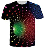 ALISISTER Lustige Bunt Swirl T-Shirt Herren Damen 3D Gedruckt Sommer Rundhals Kurzarm Grafik Tee Shirts Tops Outfits M
