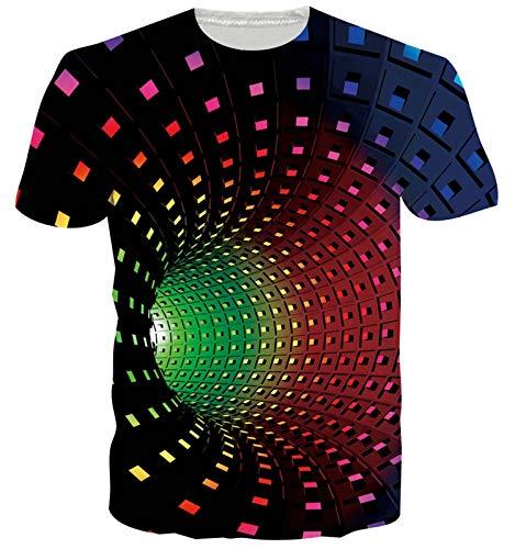 ALISISTER 3D Tshirt Uomo Donna Personalizzata Stampa Maglietta Swirl Summer Round Neck Short Sleeve Tee Shirts Top XL