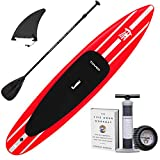 "Tower iRace Inflatable 12'6"" Stand Up Paddle Board - (6 Inches Thick) - Universal SUP Wide Stance - Premium SUP Bundle (Pump & Adjustable Paddle Included) - Non-Slip Deck - Red"