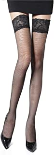 SMNE Women's Fishnet Thigh High Stockings Black Sheer Stay-Up with Lace Top Thigh-High Fishnet Stockings