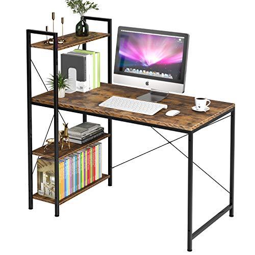 Homfa Schreibtisch PC-Tisch Computertisch mit Ablagen Bürotisch Arbeitstisch Holz Metall Vintage Schwarz Industrie Design 120x60x120cm