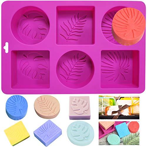 NANASO Silikon-Seifenform,6 Kavitäten gemischte Muster Seife Machen liefert rechteckig und oval,Silikonformen für die Seifenherstellung,handgemachte Seife,DIY Backen Form (Rosy-Blätter)