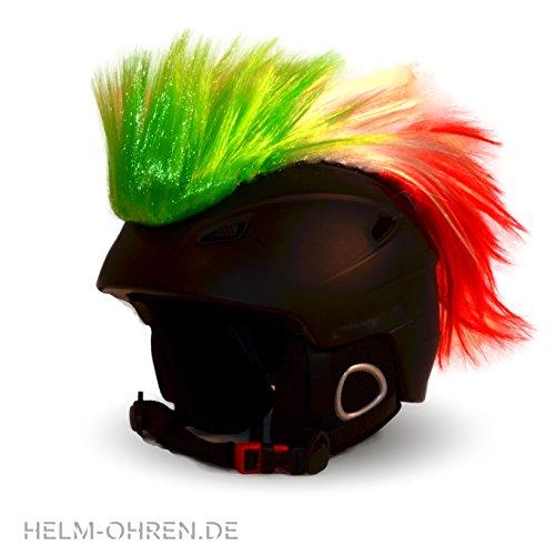 Helm-Irokese für den Skihelm, Snowboardhelm, Kinderskihelm, Kinderhelm, Motorradhelm, Fahrradhelm - Punk Fan Irokese für Kinder und Erwachsene Helmcover HELMDEKO Italien (Grün Rot Weiß)