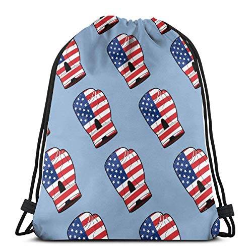 AOOEDM Boxhandschuh mit Flagge von Amerika Kordelzug Tasche Wasserdichter Sportrucksack Aufbewahrungssack für Outdoor-Wanderungen Reisesport Unisex