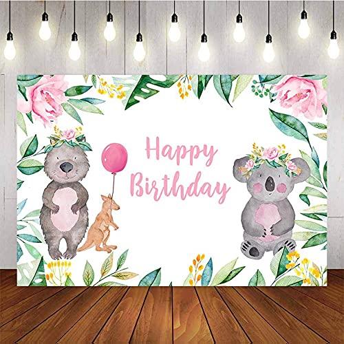 Fondo de fotografía Fiesta niña Baby Shower Koala Flor Rosa Canguro Globo niños telón de Fondo Estudio fotográfico A1 5x3 pies / 1,5x1 m