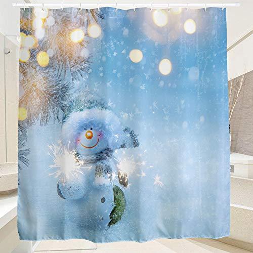 SearchI Duschvorhang Weihnachten Schneemann Anti-Schimmel, Duschvorhang Badezimmer, Wasserdicht, Anti-Bakteriell, Schnelltrocknend, 3D Digitaldruck, 12 Duschvorhangringe, 180x180cm