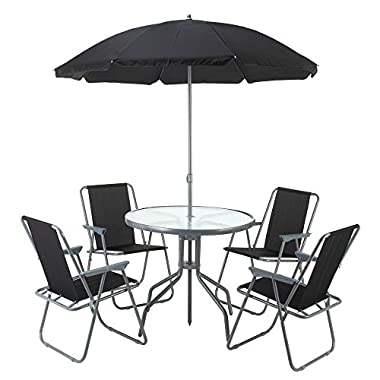 Palm Springs Outdoor Compact Patio Dining Set with Table, 4 Chairs and Umbrella/Parasol