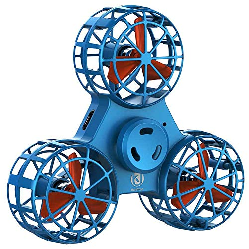 QKa Fidget Spinnes, Flying Drone Toy, Anxiety Relief Stress Relief Fidget Triangle Rotation Spinning Toys Funny Drone Interactive Games Kids Adults,Alternative to Video Games,Blue