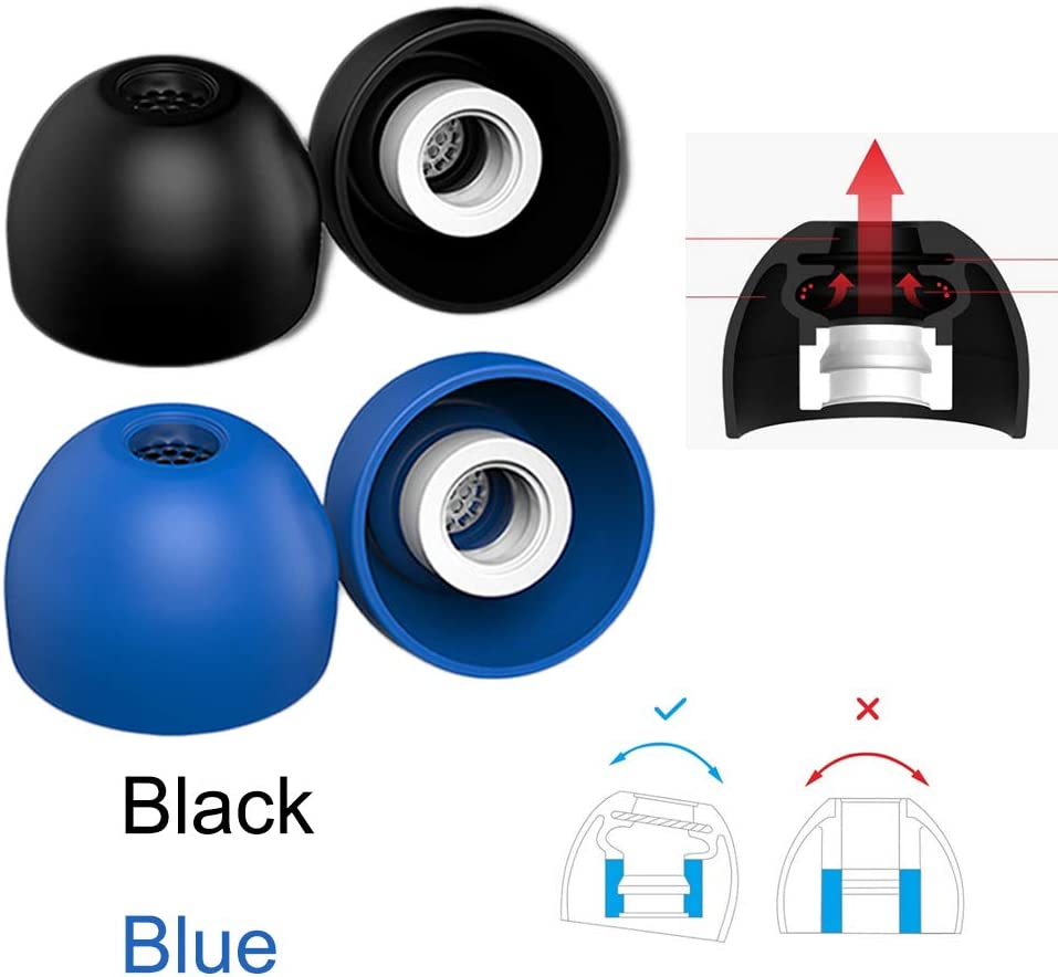 Eartips compttible for Gear icon X,IE 40 Pro,Power beatsPro,beatx,wf1000xm3,gr07,ie800,ie800s,Tws600,Z1R in Ear Earphones Earphone Tips (Black) Black