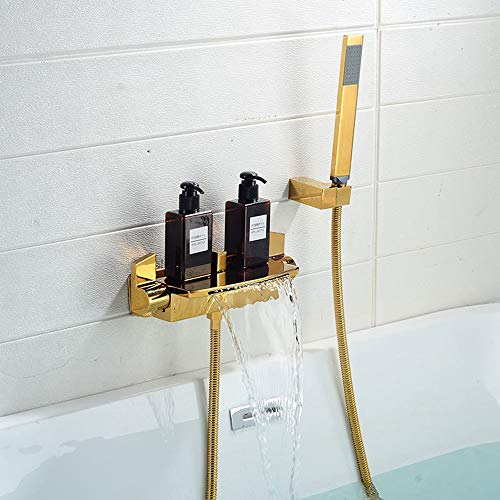 Best Buy! zZZ Nordic H59 Copper Waterfall Bathroom Hot and Cold Shower Set Ceramic Valve Core Home H...