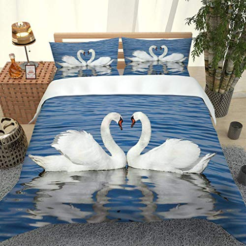 PKTMK 3D Printed Beautiful white animal swan Duvet Cover with 2 Pillowcases Bedding Set with Zipper Closure Hypoallergenic Soft Microfiber Quilt Cover Set King 230x220cm