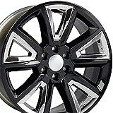 OE Wheels LLC 22 Inch Fits Chevy Silverado Tahoe GMC Sierra Yukon Cadillac Escalade CV73B Gloss Black w/Chrome 22x9 Rim Hollander 5696