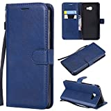 Haoweiwei para Samsung Galaxy J4 Core Cartera Color sólido PU Funda con Tapa y Cierre de Cuero con Correa de muñeca y Hebilla magnética (Color : Azul)