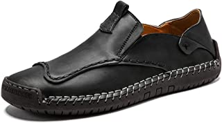 Dongxiong Simple fashion classic men's occasional penny loafers drive in the round-to-hand-stitched leather upper flat slip shoes (Color : Black, Size : 47 EU)