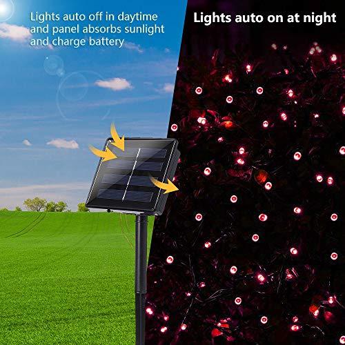 Joomer Solar String Lights 72ft 200 LED 8 Modes Outdoor String Lights Waterproof Solar Fairy Lights for Garden, Patio, Fence, Balcony, Outdoors (Red)