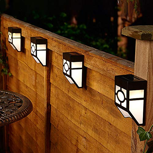 CUQOO 8-Pack Solar Wall Lights Outdoor, Solar Led Waterproof Lighting for Deck, Fence, Patio, Front Door, Stair, Landscape, Yard and Driveway Path in Warm White