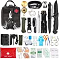 ASA TECHEMD 127Pcs Emergency Survival Kit Professional Survival Gear Tool First Aid Kit with Molle Pouch for Camping Adventures