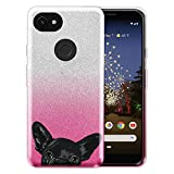 FINCIBO Case Compatible with Google Pixel 3a XL 6 inch, Shiny Silver Pink Gradient 2 Tone Glitter TPU Protector Cover Case for Pixel 3a XL (NOT FIT Pixel 3a 5.6 inch) - French Bulldog Puppy Dog Black