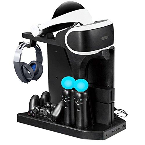 Lade- und Displayständer für PS VR, DOUBI Controller Ladestation mit Kühler Lüfter für PS4 / PS4 Pro / PS4 Slim