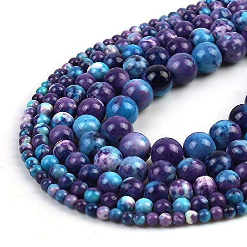 HUKGD Púrpura Azul Manchado Lluvia Flor de Granos de Piedra Natural Redondo Suelto Perlas espaciadoras para la joyería de Bricolaje Que Hace la Pulsera del 4/6/8/10/12 Other 12mm 30pcs Beads