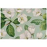 Hinyyee 4 Piezas Patrón de la Planta geométrico Algodón Lino Lavable Anti-escaldado Aislamiento 44 × 28 cm Estera de Mesa de Comedor Suave (Color : Flowers, Size : 44 × 28CM)