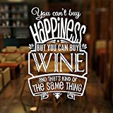 Adhesivos de pared Calcomanías de pared removibles de PVC no puedes comprar la felicidad, pero puedes comprar vitrinas de la barra del mercado del vino calcomanías decorativas mural 42X65Cm