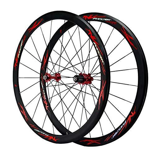 Ruedas de Ciclismo Carreras 700C, Freno En V Pared Doble Aleación Aluminio Los 40MM Llanta Ruedas Bicicleta 24 Hoyos para Velocidad 7/8/9/10/11 (Size : 700C)
