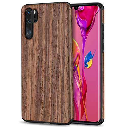 TENDLIN für Huawei P30 Pro Hülle Holz und Flexiblem TPU Silikon Hybrid Weiche Schutzhülle Kompatibel mit Huawei P30 Pro (Rotes Sandelholz)