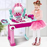 JOYSAE Pretend Play Makeup Toy Set Beauty Princess Dressing Table and Suitcase Convertible Suitcase Trolley Portable Role Play Set with Accessories for Girl Kids