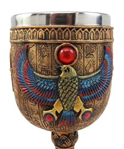 Atlantic Collectibles Ancient Egyptian Horus Falcon Bird God Of The Sky 6oz Resin Wine Goblet Chalice With Stainless Steel Liner
