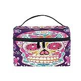 Bolsa de maquillaje con diseño de calavera de Halloween, bolsa de maquillaje, portátil, para llevar brochas de maquillaje, organizador de almacenamiento para mujeres