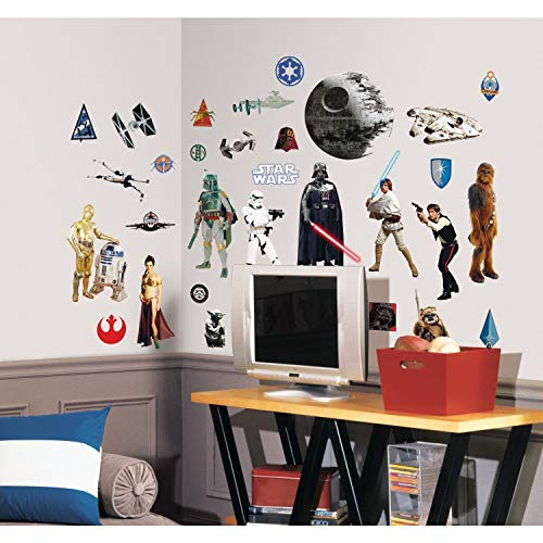 Star Wars RMK1586SCS Juego de Pegatinas de Pared Roommates, Black, Brown, Gray, Blue, Green, Red, Purple, Estándar