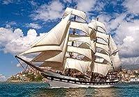 ChuYuszb 大人のための1000個のジグソーパズル背の高い船が港を離れるパズル木製のパズル教育ゲーム子供のための脳の挑戦パズル子供