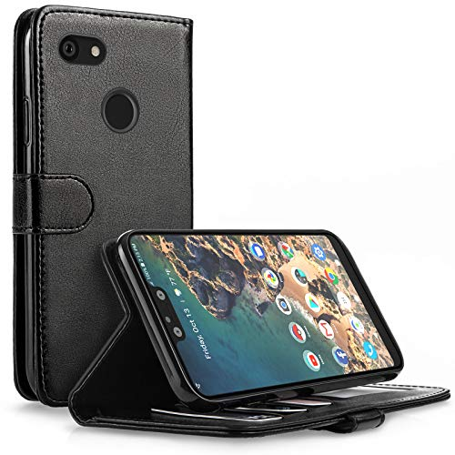 Caseflex Kompatibel Für Google Pixel 3 XL Leder Brieftaschen Hülle | ID Führerschein Fach | Stoßdämpfender Schutz | Brieftaschenhülle mit Kartenschlitzen, Karten Fächern & Magnetverschluss - Schwarz