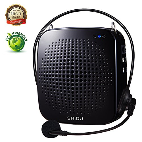 Voice Amplifier,SHIDU Wireless Voice Amplifier 2.4G 18W Portable Rechargeable PA System Loudspeaker with Wireless Microphone Headset for Teachers,Singing,Fitness Instructors,Yoga,Tour Guides