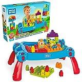 Mega Bloks La Table d'Apprentissage bleue avec blocs de construction et 2 véhicules, 30 pièces, jouet pour bébé et enfant de 1 à 5 ans, FGV05