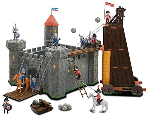 OTTO Grand Chateau Fort des Chevaliers + Tour d'assaut Mobile + Figurines + Accessoires - 34x34x35cm