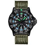 SEKULA Reloj de pulsera multifuncional de cuarzo luminoso, impermeable, con correa de lona
