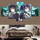DPZDW Colgar Imagen HD Anime Poster Wall Fashion Modular 5 Set Anime Girl Game Canvas Painting Impreso Decoración para el hogar Fondo de Arte