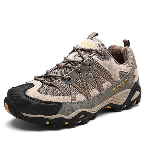 Aerlan Gym Shoes Lightweight Shoes,Botas de montaña Deportivas,Zapatos para Caminar al Aire Libre Zapatos para Caminar Antideslizantes Resistentes al Desgaste Calzado Deportivo-Caqui/Yellow_42#