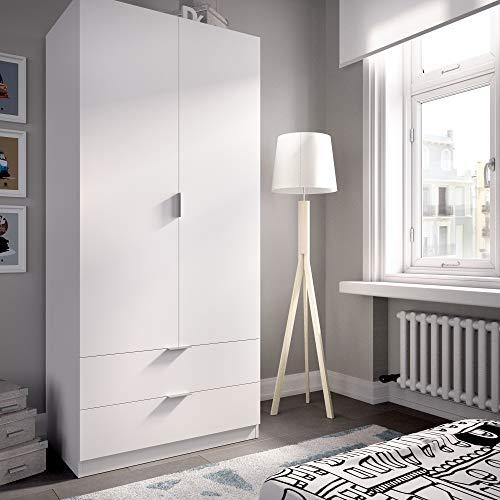HOMEKIT Armario ropero 2 Puertas+2cajones, Blanco, 81x184x52 cm