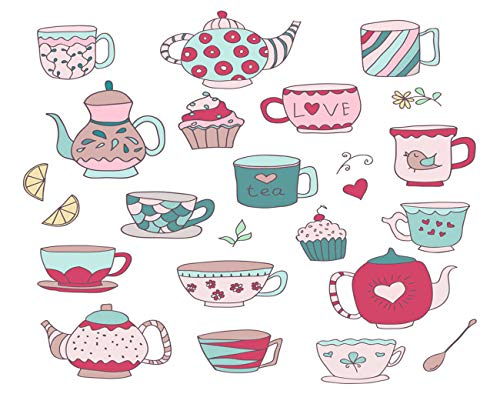 Ghjxda 5D DIY Diamond Painting Kits Pink Painting Arts Craft of Cute Doodle Cups Teapots and Cupcakes in Pastel Colors Painting by Numbers for Adults Canvas Full Drill 12x16 Inch