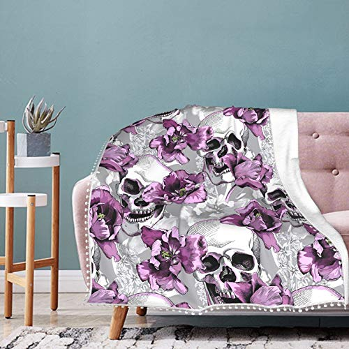 Fehuew Flannel Twin Size Pompom Fringe Blanket Vintage Purple Flowers Skulls Plush Warm Bed Blanket Soft Throw Blanket fits Couch Sofa 60x80 Polyester