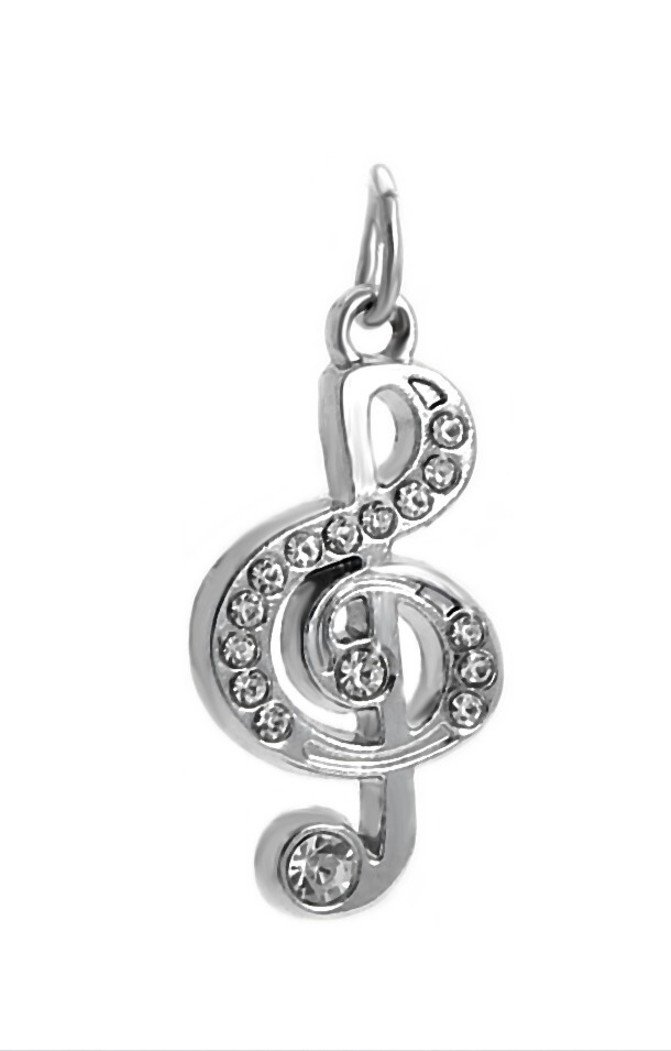 J&M Dangle Music Note with Crystals Charm Bead for Bracelets