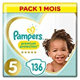 Couches Pampers Taille 5 (11-16 kg) - Premium   Protection Couches, 136 couches, Pack 1 Mois