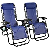 Zero Gravity Chair Pack 2, Outdoor Lounge Patio Chairs with Pillow and Utility Tray Adjustable Ergonomic Foldable Chair Recliner Lounge Chairs with Cup Holder for Deck, Patio, Beach, Yard, Blue