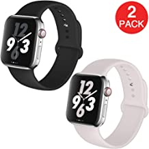 Kaome Compatible with Apple Watch Band 40mm 38mm 2-Pack,Soft Strap Sport Band for iWatch Apple Watch Series 4, Series 3, Series 2, and Series 1(S/M,Black,Soft White)