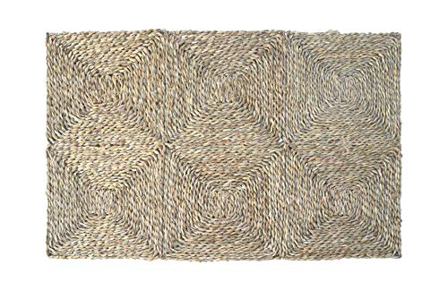 HERSIG - Alfombra Fibra Natural | Alfombra Cuadrada de Seagrass - 60 x 90 cm